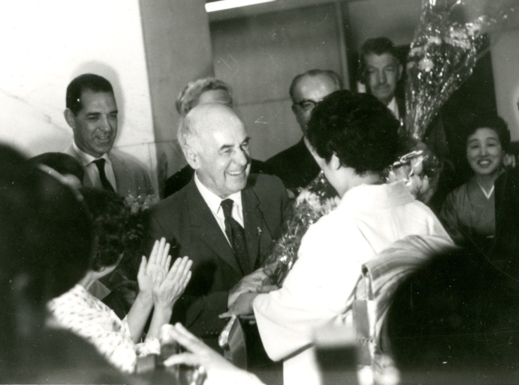 Catchpool receiving flowers in Tokyo in the 1960s.