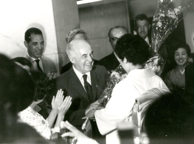 Catchpool receiving flowers in Tokyo in the 1960s.