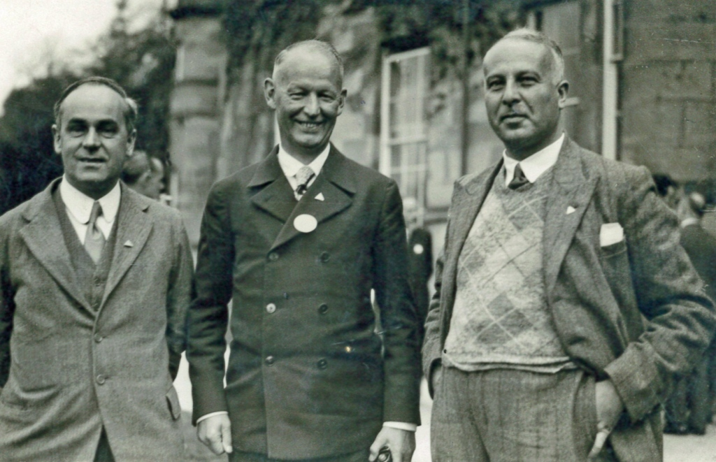Catchpool (left) with Richard Schirrmann, the man who invented youth hostels (centre) in 1934.